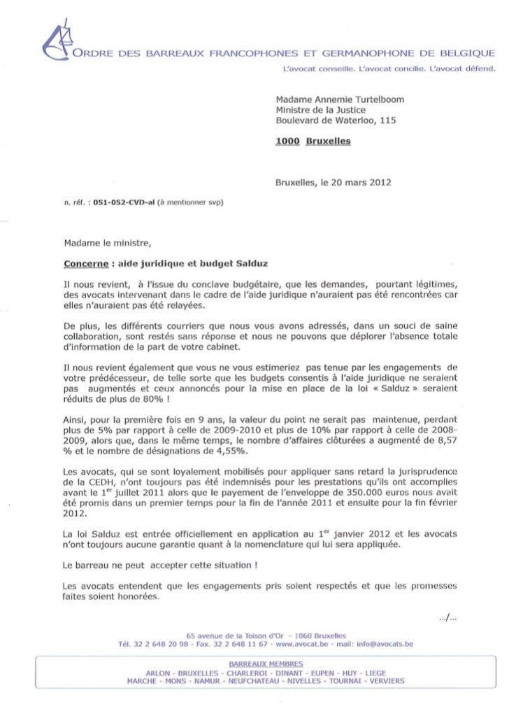 Aide juridique : l'OBFG met Mme Turtelboom en demeure