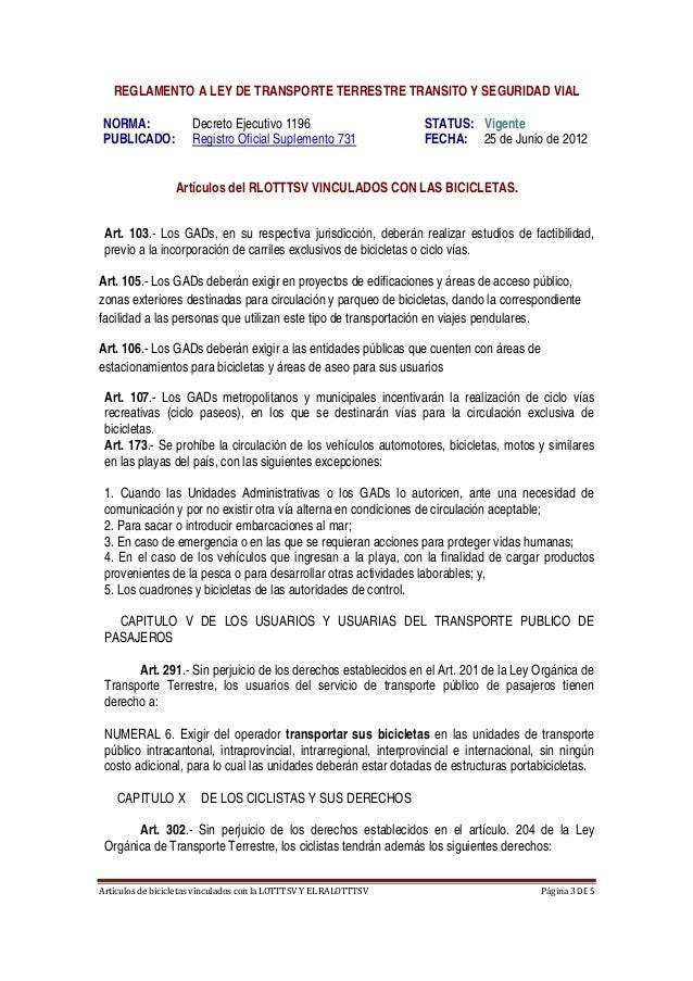 ArtículosdebicicletasvinculadosconlaLOTTTSVYELRALOTTTSV Página3DE5  REGLAMENTO A LEY DE TRANSPORTE TERRESTR...