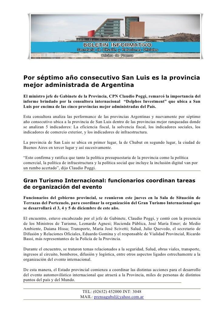 Por séptimo año consecutivo San Luis es la provincia mejor administrada de Argentina El ministro jefe de Gabinete de la Pr...
