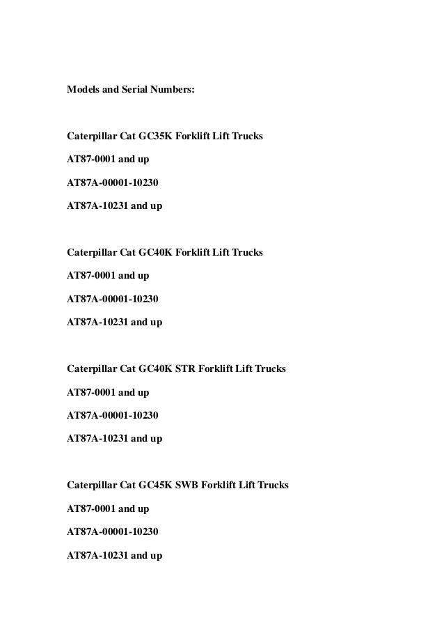 Cat Forklift gc35k Service Manual