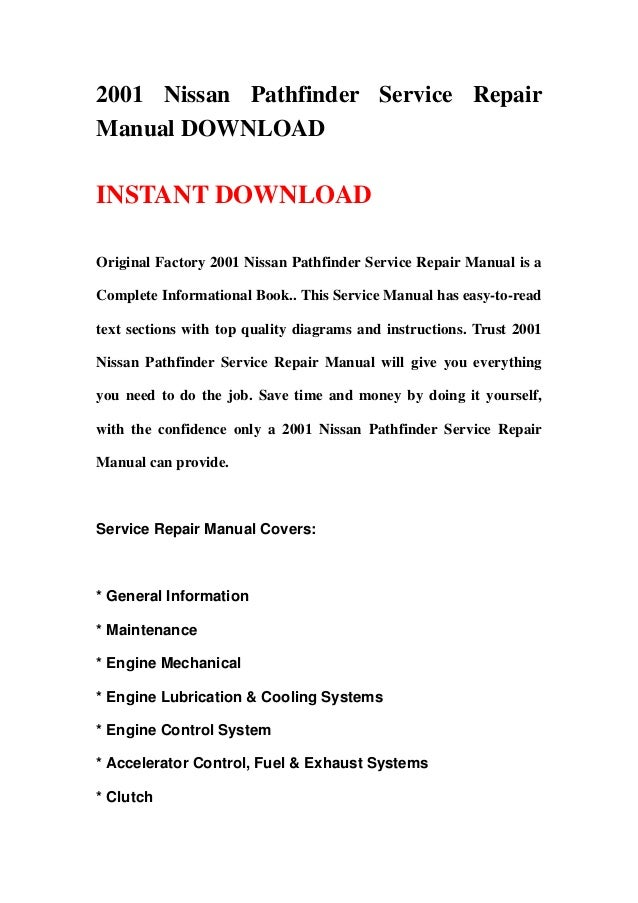 pathfinder 2001 service manual