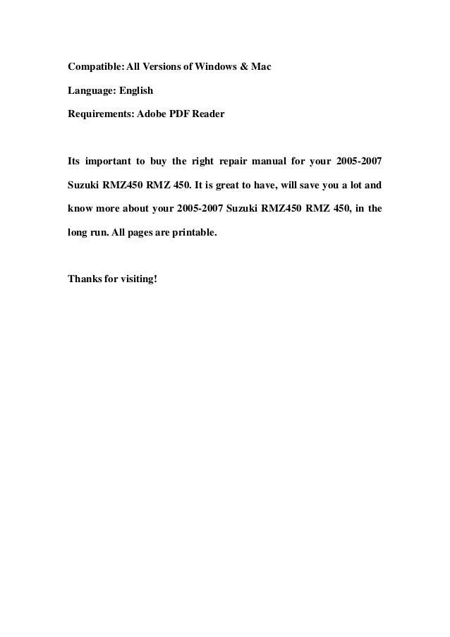 06 Rmz 450 Repair Manual