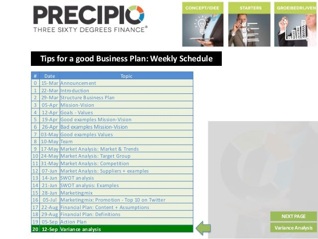 Tips for a good Business Plan: Weekly Schedule NEXT PAGE Variance Analysis # Date Topic 0 15-Mar Announcement 1 22-Mar Int...