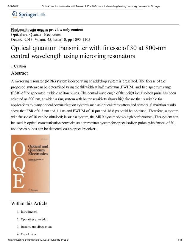 Optical quantum transmitter with finesse of 30 at 800-nm central wavelength using microring resonators