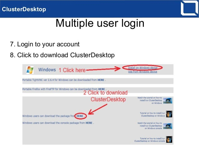 ClusterDesktop using with multiple users on Windows