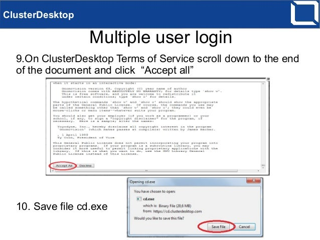 ClusterDesktop using with multiple users on Windows