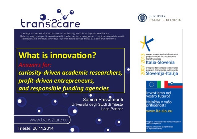 Transregional Network for Innovation and Technology Transfer to Improve Health Care  Rete transregionale per l'innovazione...