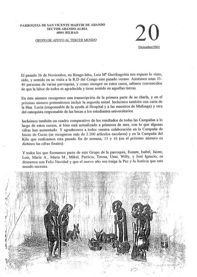 PARROQUIA DE SAN VICENTE MARTIR DE ABANDO SECTOR ABANDO-ALBIA 48001 BILBAO     GRUPO DE APOYO AL TERCER MUNDO  Diciembre/ ...