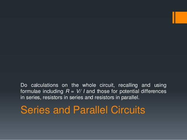 Formula For Series And Parallel Circuit
