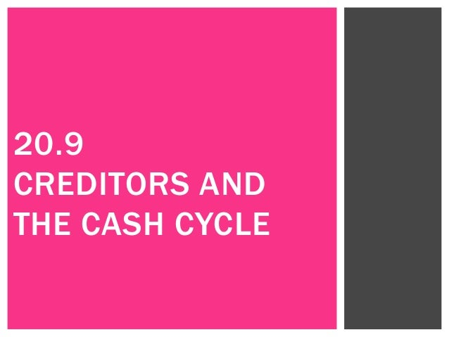 20.9 CREDITORS AND THE CASH CYCLE
