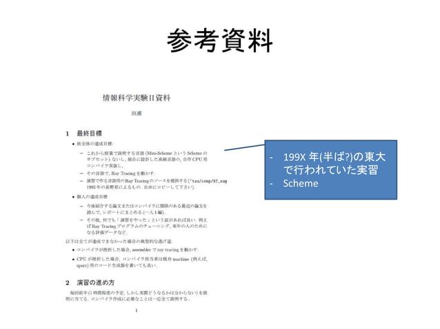 参考資料 - 199X 年(半ば?)の東大 で行われていた実習 - Scheme