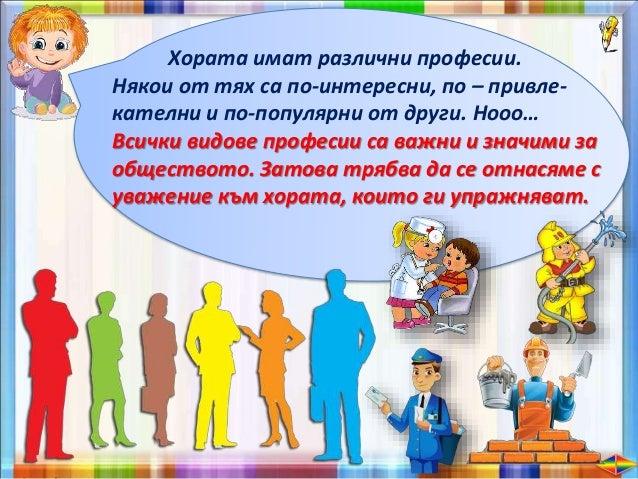 За да се ориентирате правилно за избора на професия, е добре да знаете основните видове професии. Например: Професии, свър...