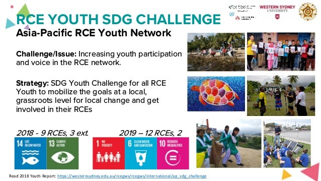 RCE YOUTH SDG CHALLENGE Asia-Pacific RCE Youth Network Challenge/Issue: Increasing youth participation and voice in the RC...