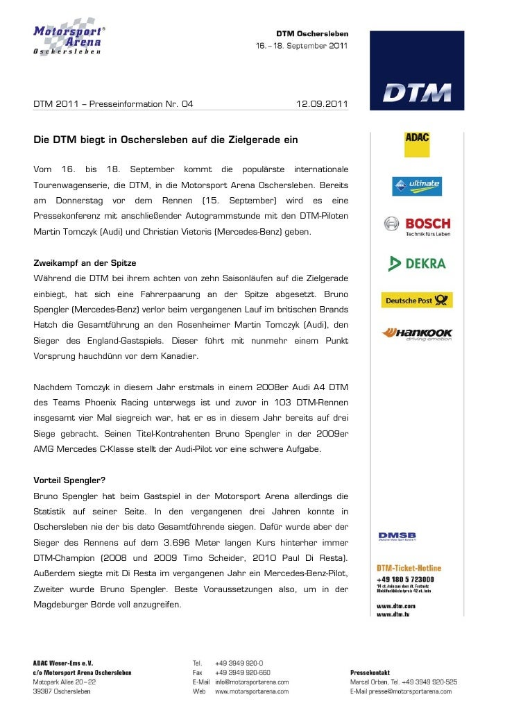 DTM 2011 – Presseinformation Nr. 04                                   12.09.2011Die DTM biegt in Oschersleben auf die Ziel...