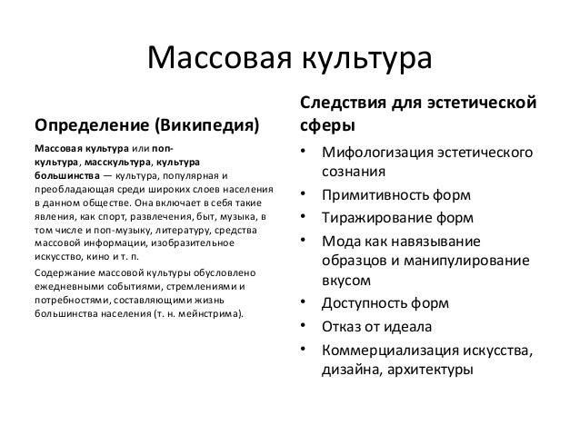 Массовая культура                                                  Следствия для эстетическойОпределение (Википедия)      ...
