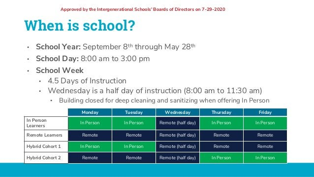 When is school? • School Year: September 8th through May 28th • School Day: 8:00 am to 3:00 pm • School Week • 4.5 Days of...