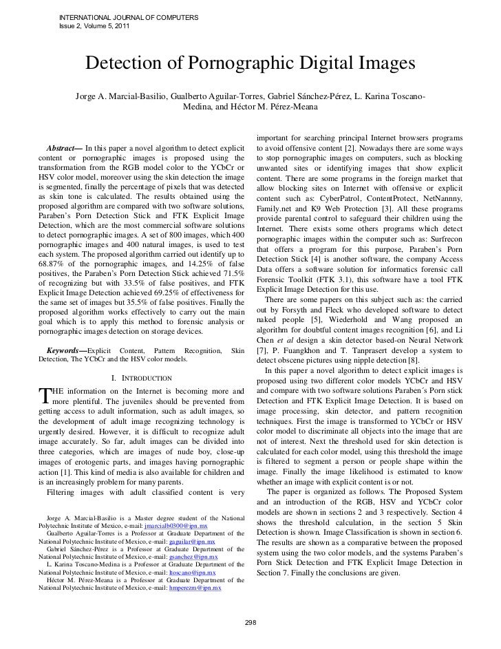 INTERNATIONAL JOURNAL OF COMPUTERS       Issue 2, Volume 5, 2011                Detection of Pornographic Digital Images  ...