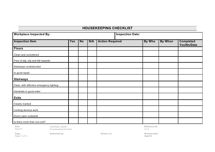 housekeeping check list - Parfu kaptanband co