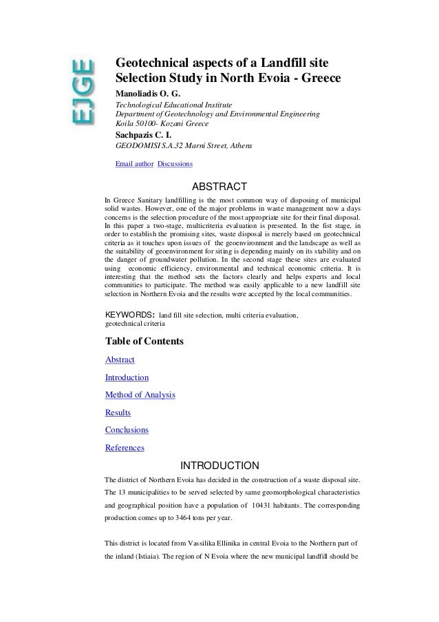 Geotechnical aspects of a Landfill site Selection Study in North Evoia - Greece Manoliadis O. G. Technological Educational...