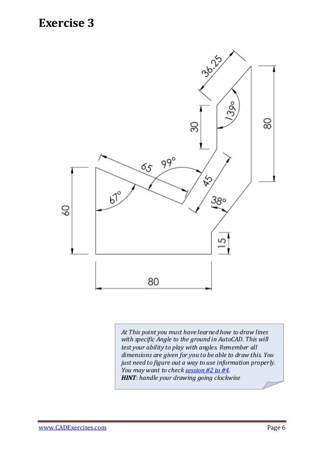 Drawing Lines With Angles In Autocad : Days of d cad exercises part