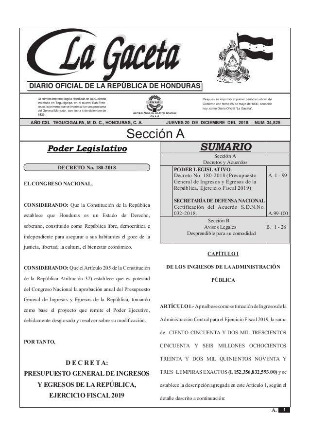 Calendario Fiscal 2019 Honduras.Publicado En La Gaceta El Presupuesto General 2019