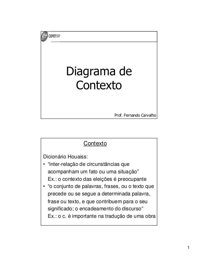 """1Prof. Fernando CarvalhoDiagrama deContextoContextoDicionário Houaiss:• """"inter-relação de circunstâncias queacompanham um ..."""
