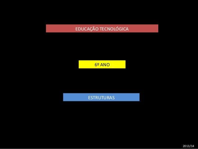 EDUCAÇÃO TECNOLÓGICA  6º ANO  ESTRUTURAS  2013/14