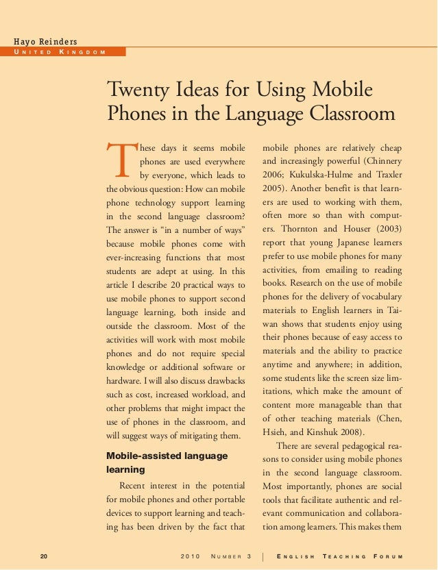 Hay o Re i n d e rs.                       Twenty Ideas for Using Mobile                       Phones in the Language Clas...