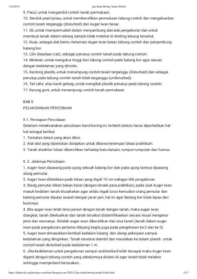 20 Jasa Hand Boring Tanah Di Bali
