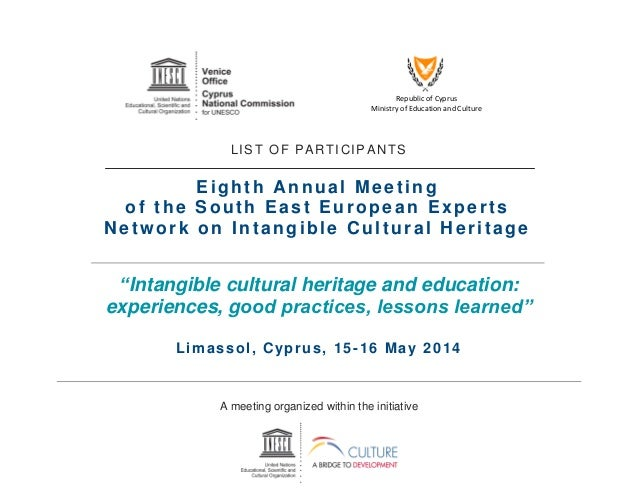 Republic of Cyprus Ministry of Education and Culture LIST OF PARTICIPANTS Eighth Annual Meeting of the South East European...