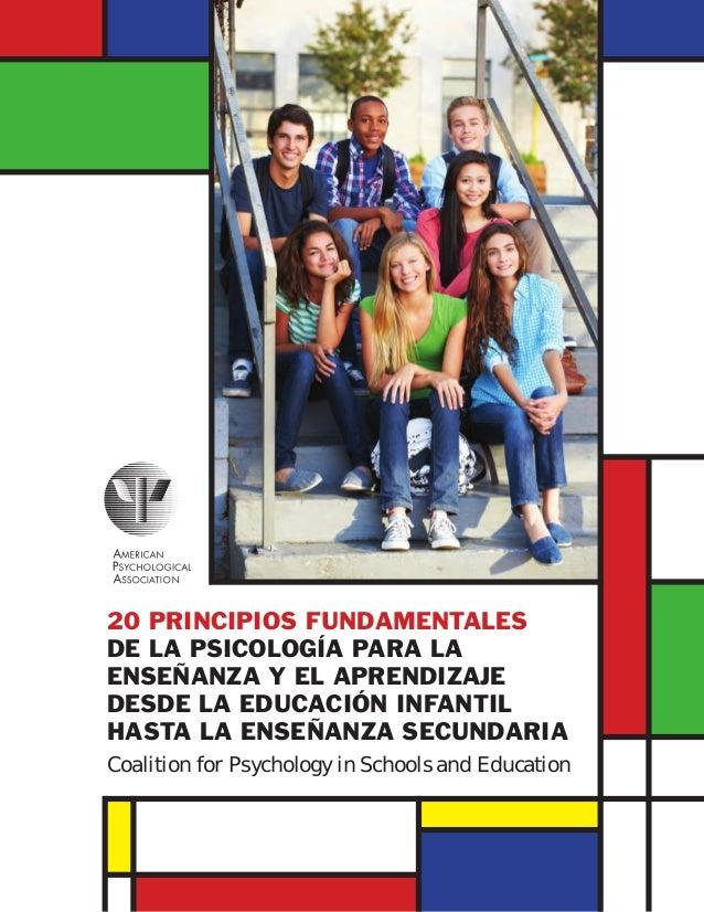 20 PRINCIPIOS FUNDAMENTALES DE LA PSICOLOGÍA PARA LA ENSEÑANZA Y EL APRENDIZAJE DESDE LA EDUCACIÓN INFANTIL HASTA LA ENSEÑ...