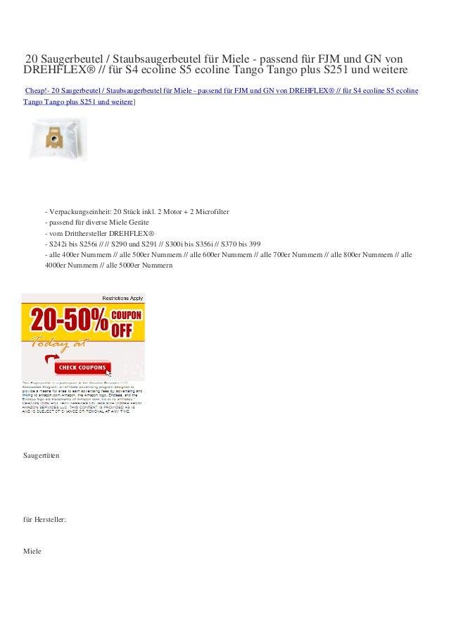 20 Saugerbeutel / Staubsaugerbeutel für Miele - passend für FJM und GN vonDREHFLEX® // für S4 ecoline S5 ecoline Tango Tan...