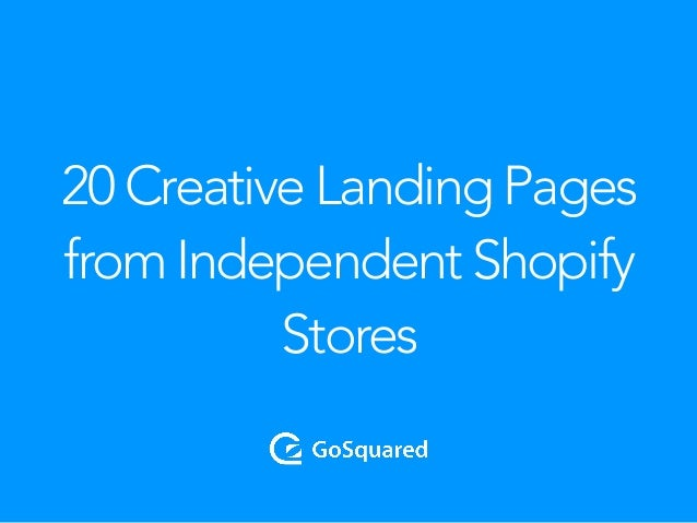 20 Creative Landing Pages from Independent Shopify Stores