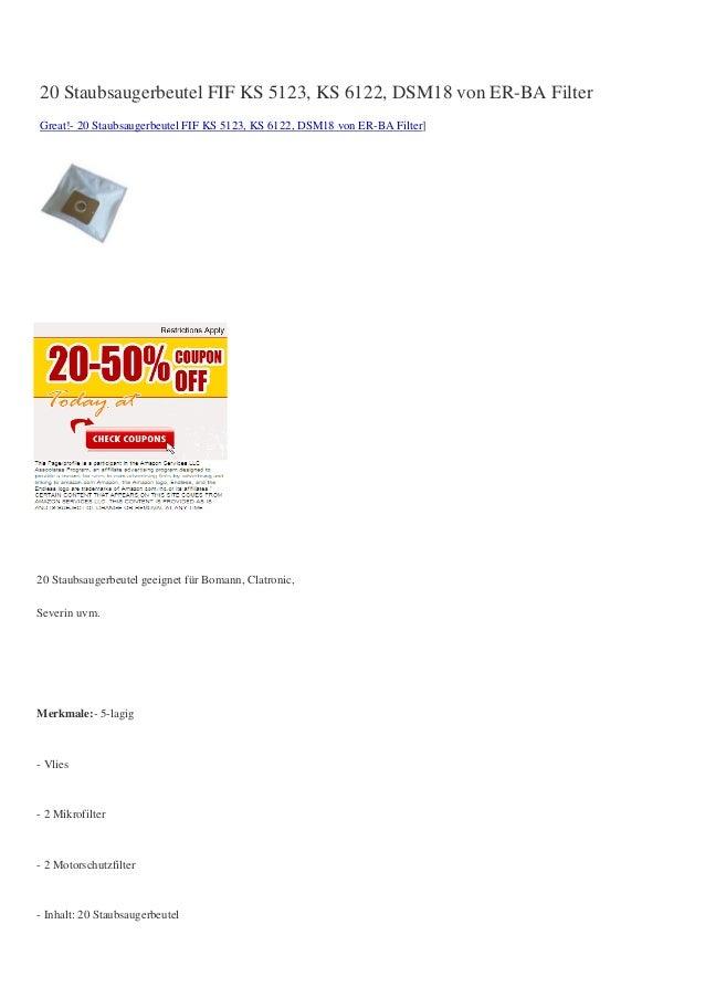 20 Staubsaugerbeutel FIF KS 5123, KS 6122, DSM18 von ER-BA FilterGreat!- 20 Staubsaugerbeutel FIF KS 5123, KS 6122, DSM18 ...