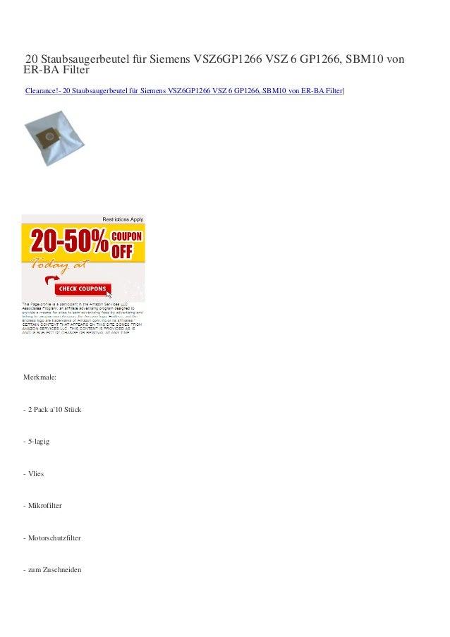 20 Staubsaugerbeutel für Siemens VSZ6GP1266 VSZ 6 GP1266, SBM10 vonER-BA FilterClearance!- 20 Staubsaugerbeutel für Siemen...