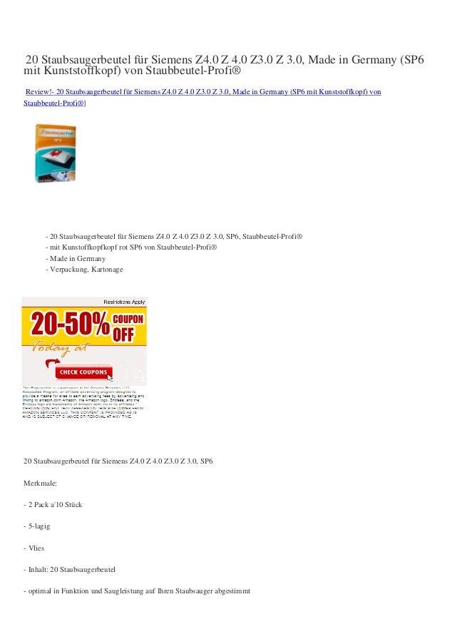 20 Staubsaugerbeutel für Siemens Z4.0 Z 4.0 Z3.0 Z 3.0, Made in Germany (SP6mit Kunststoffkopf) von Staubbeutel-Profi®Revi...