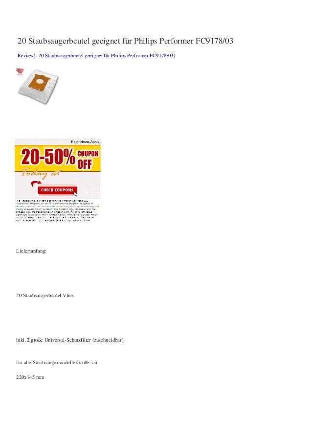 20 Staubsaugerbeutel geeignet für Philips Performer FC9178/03Review!- 20 Staubsaugerbeutel geeignet für Philips Performer ...