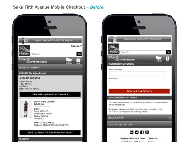 Saks Fifth Avenue Mobile Checkout