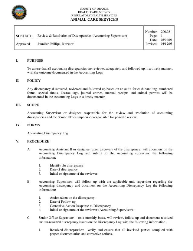 200 38 review and resolution of discrepancies (accounting