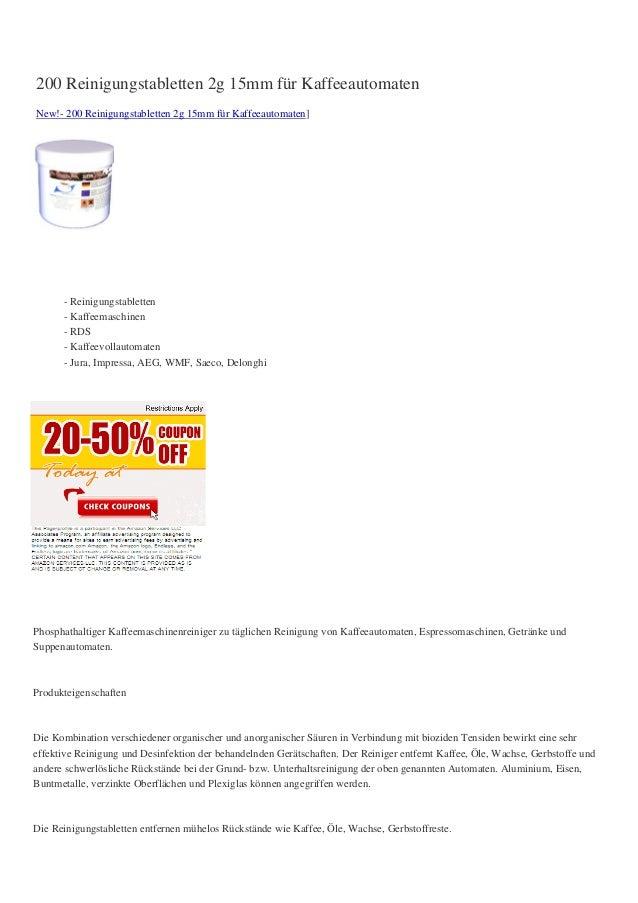 200 Reinigungstabletten 2g 15mm für KaffeeautomatenNew!- 200 Reinigungstabletten 2g 15mm für Kaffeeautomaten]- Reinigungst...