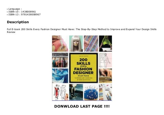Full E Book 200 Skills Every Fashion Designer Must Have The Step B