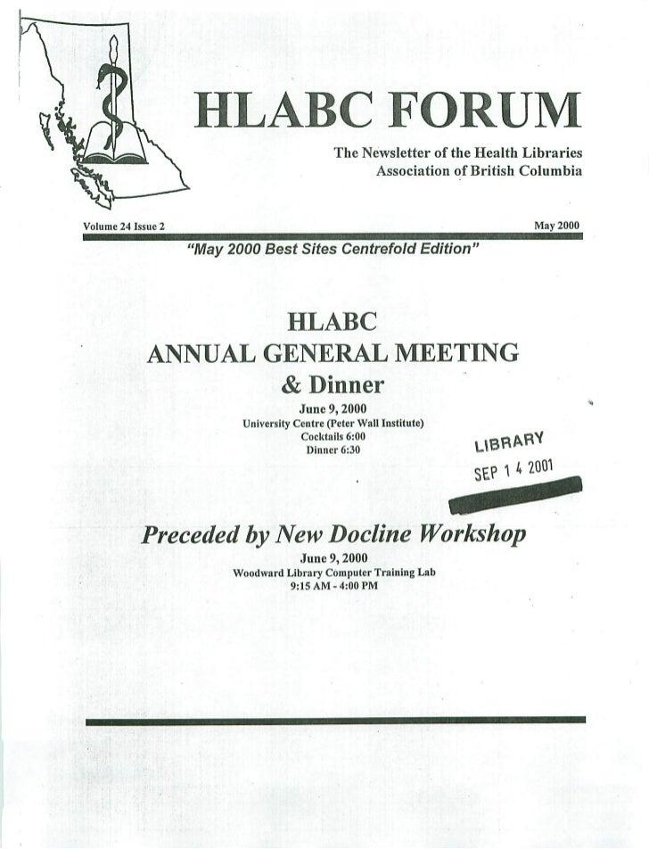 HLABC Forum: May 2000