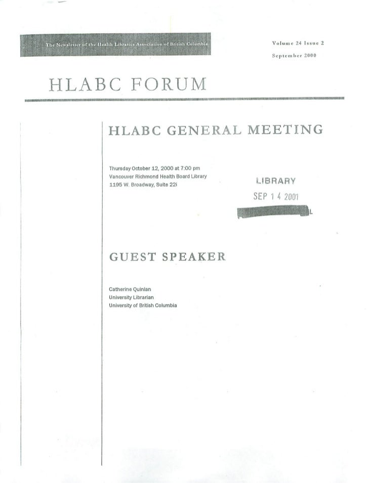 HLABC Forum: September 2000