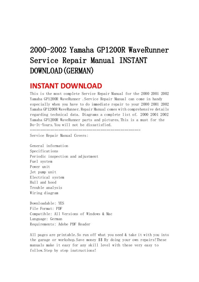 2000 2002 yamaha gp1200r waverunner service repair manual instant download