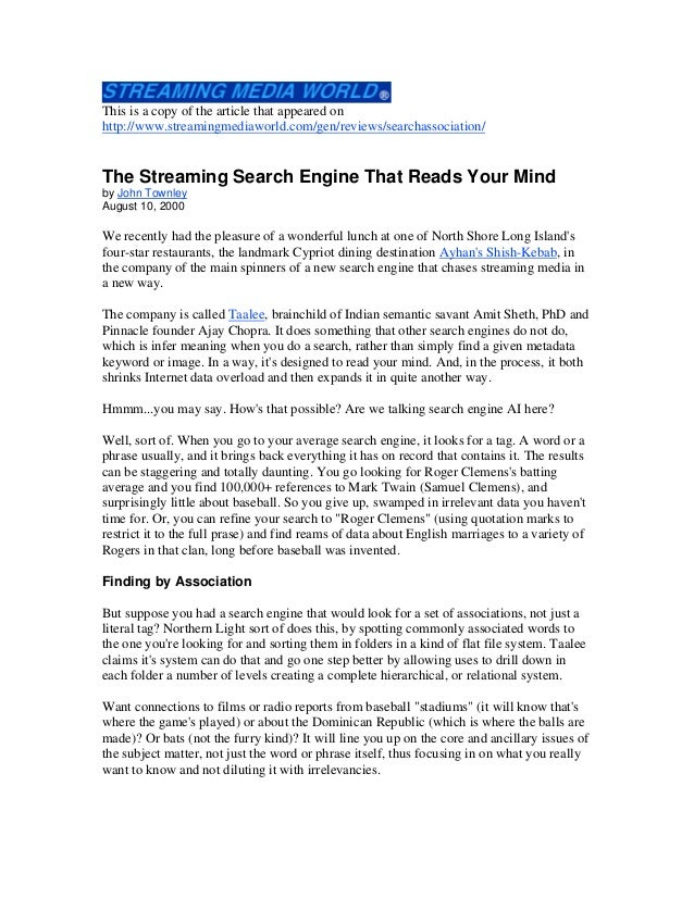 This is a copy of the article that appeared on http://www.streamingmediaworld.com/gen/reviews/searchassociation/ The Strea...