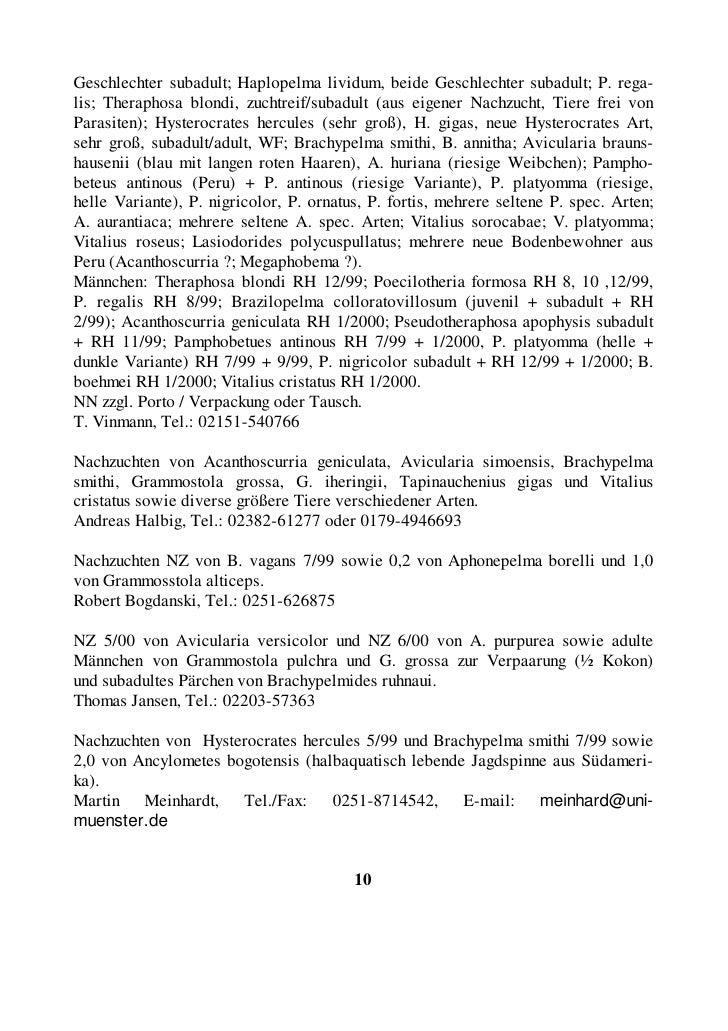 Nachzuchten von Avicularia laeta NZ 4/2000 und A. versicolor NZ 5/2000. Martin Huber, Tel.: 0821-5896946, E-Mail: martin@f...