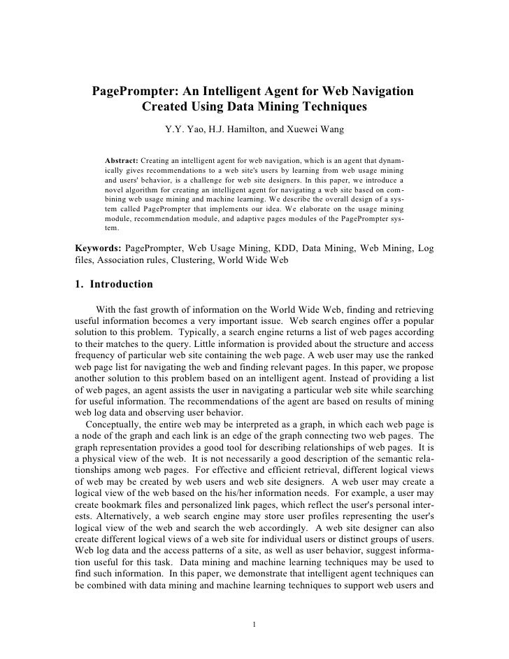 PagePrompter: An Intelligent Agent for Web Navigation            Created Using Data Mining Techniques                     ...