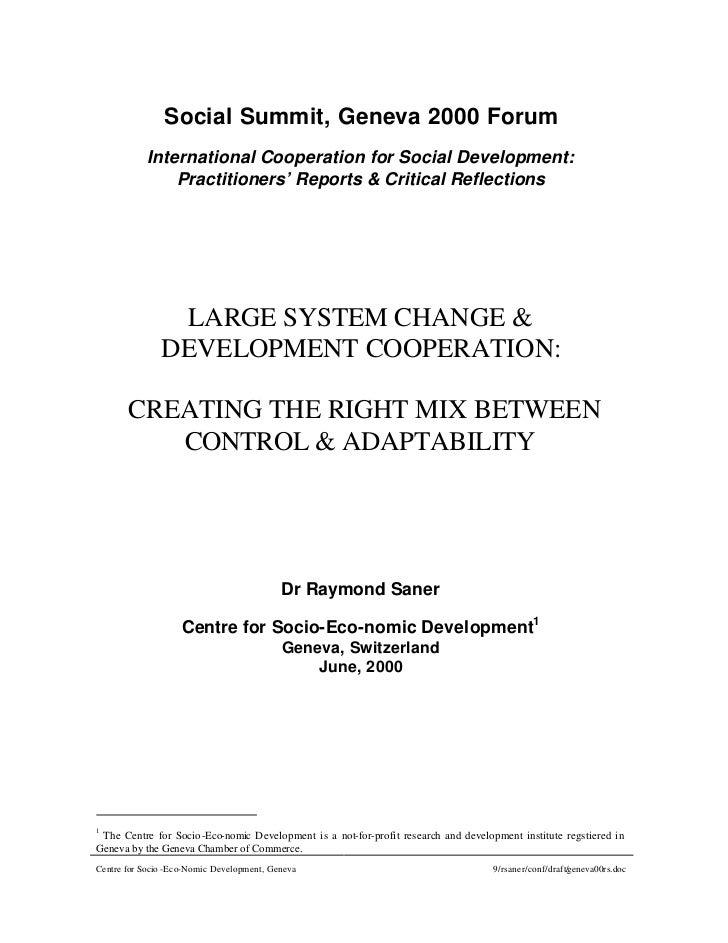 Social Summit, Geneva 2000 Forum           International Cooperation for Social Development:               Practitioners' ...