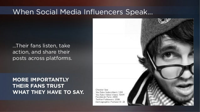 MORE IMPORTANTLY  THEIR FANS TRUST  WHAT THEY HAVE TO SAY.  ...Their fans listen, take  action, and share their  posts acr...