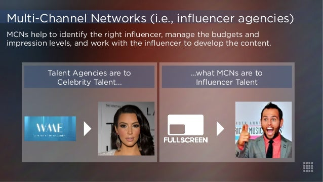 Talent Agencies are to  Celebrity Talent...  ...what MCNs are to  Influencer Talent  Multi-Channel Networks (i.e., influen...